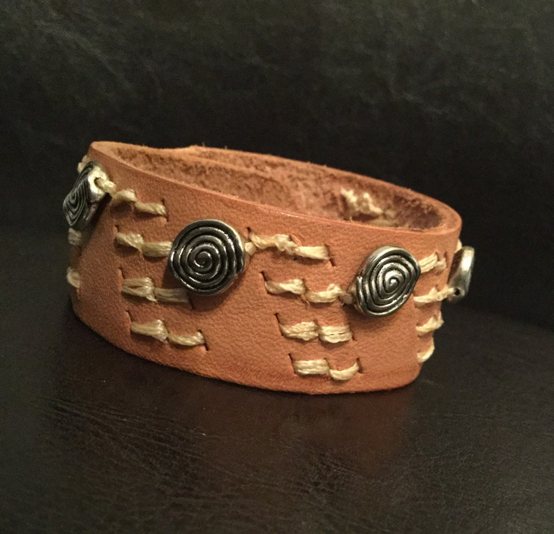 Beaded leather bracelet leather cuff  with metal beads wide image 0