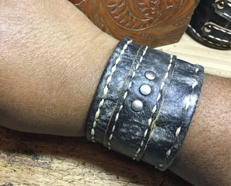 Leather statement cuff unisex leather cuff stitched leather image 0