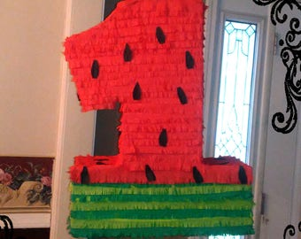 Watermelon Themed Number PIÑATA in Red & Green-Approx. 2 FEET Tall - You choose the Number for Age Birthday Party Game 1st 2nd 3rd 4th 5 6 7