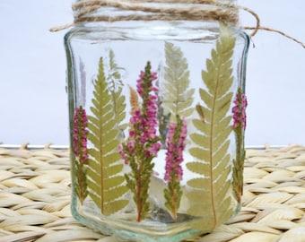 Pressed flower heather tea-light holder, Fern tea-light holder, woodland wedding, Mason jar tea light, mason candle holder.