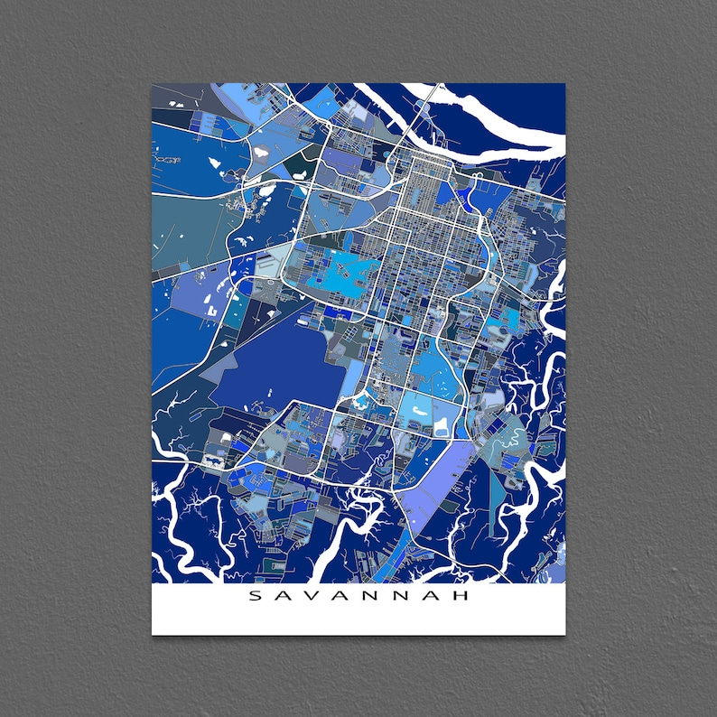 Savannah Map Art Print Savannah Georgia Usa City Map Etsy