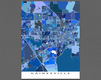 Gainesville Map Print, Gainesville FL, University of Florida
