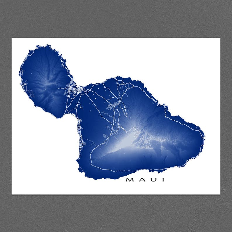 photograph regarding Maui Map Printable referred to as Maui Map Print, Maui Hawaii Map Artwork, Hawaiian Island Poster