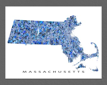 Massachusetts Map Print, Massachusetts State Art, MA Wall Decor