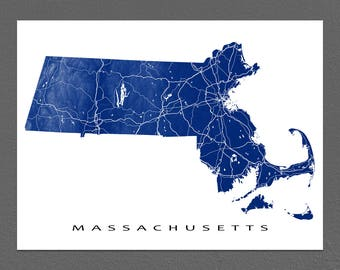 Massachusetts Map, Massachusetts Art Print, USA State Outline, MA Map Poster