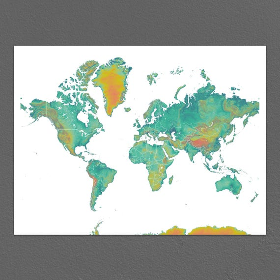 World Map Print Earth Landscape Art Map Of The World Etsy