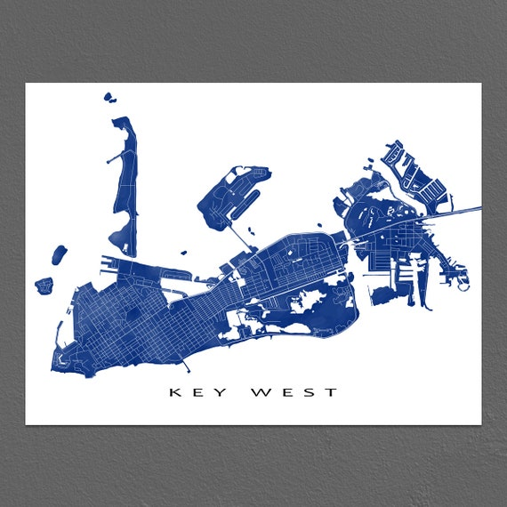 Key West Map Print Key West Florida Keys Art Key West Decor Etsy