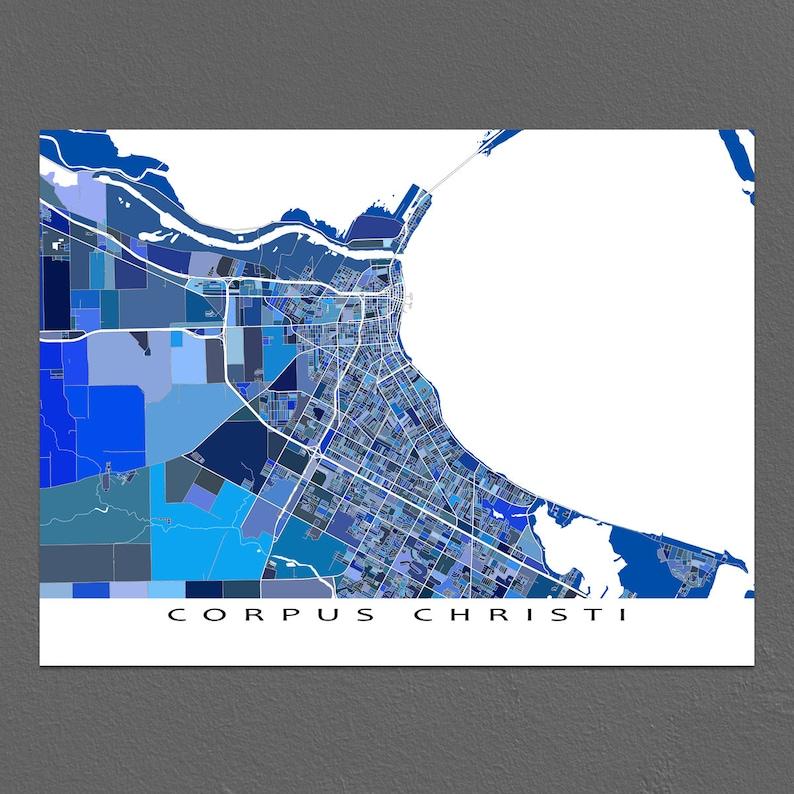 Corpus Christi Map Corpus Christi Texas City Maps Street | Etsy on
