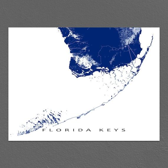 Printable Map Of Florida Keys.Florida Keys Map Print Key West Map Key Largo Florida Keys Art Prints