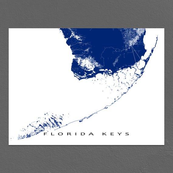 Map Of The Keys In Florida.Florida Keys Map Print Key West Map Key Largo Florida Keys Etsy