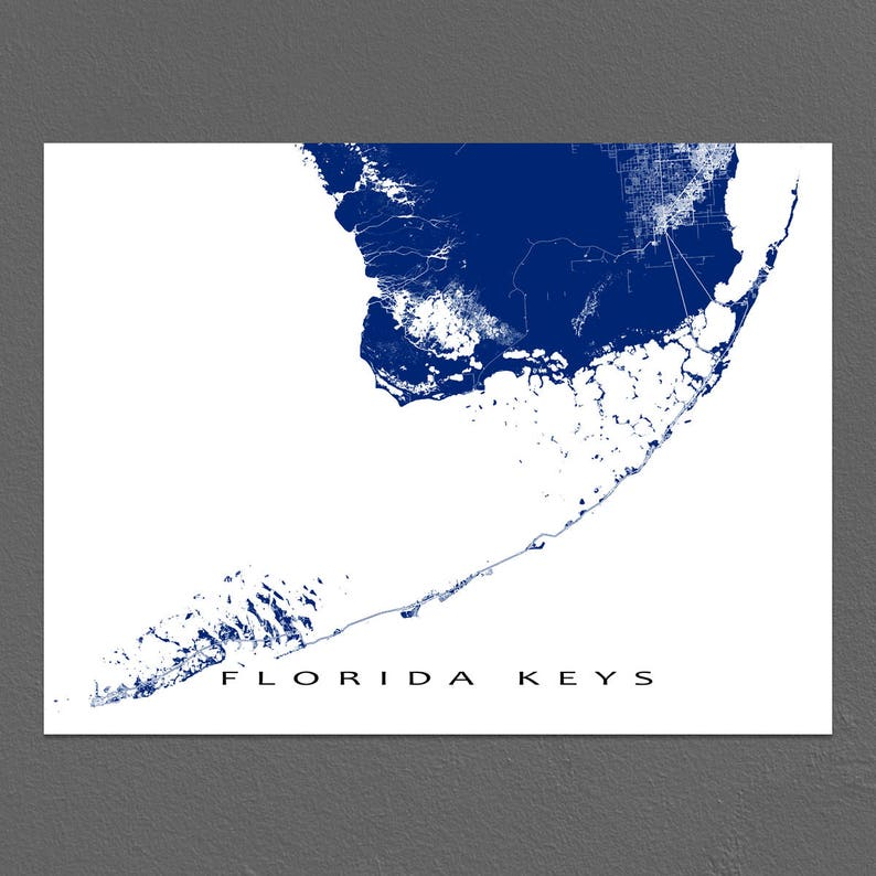 image regarding Printable Map of Key West identify Florida Keys Map Print, Principal West Map, Solution Largo, Florida Keys Artwork Prints