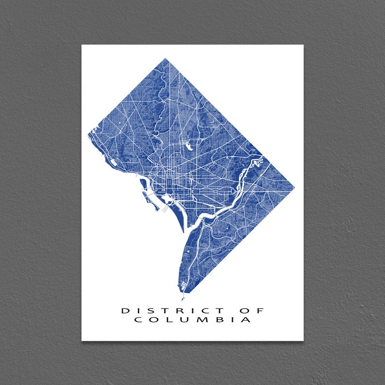 District of Columbia Map Print Washington DC City Art USA | Etsy
