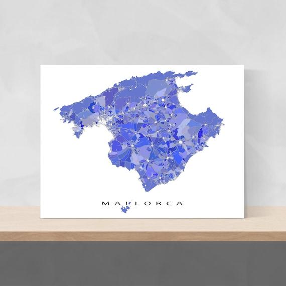 Mallorca Karte Umriss.Mallorca Karte Drucken Mallorca Spanien Karte Art Prints Insel Mallorca