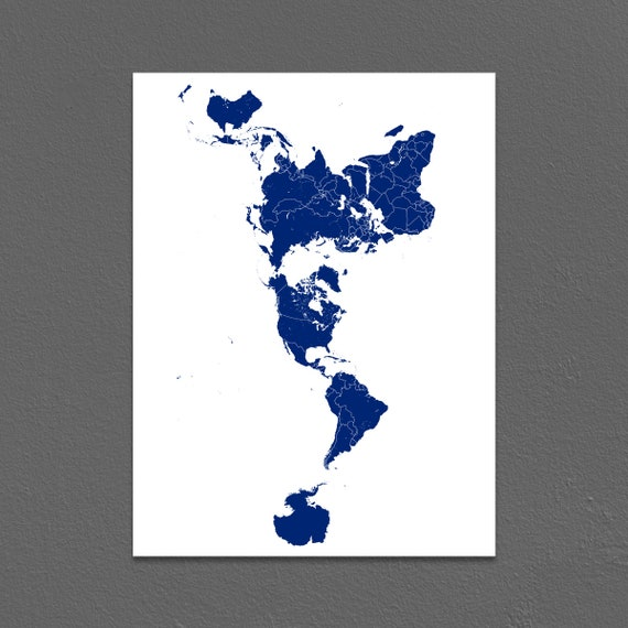 World Map Wall Art Print Or Modern Carte Du Monde Poster With Etsy