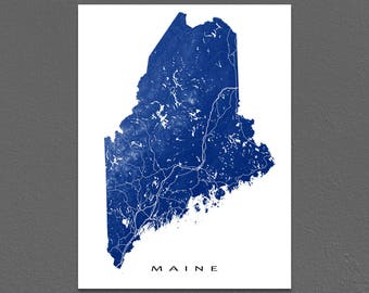 Maine Map, Maine State Outline, ME Map Art Print