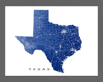 Texas map Etsy
