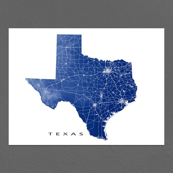Texas Map Texas State Art Print USA State Outline Map Poster | Etsy