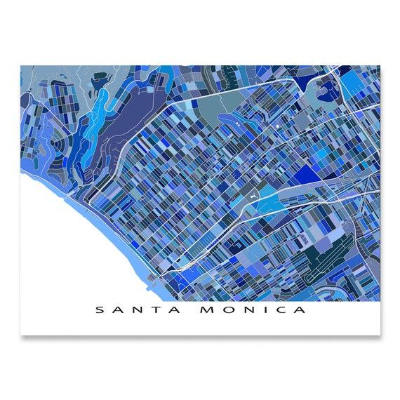 Santa Monica Karte Drucken, Kalifornien, blaue Stadtpläne