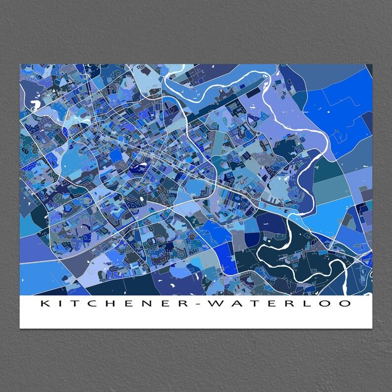 Map Of Canada Kitchener.Kitchener Waterloo Map Art Print Ontario Canada City Street Maps