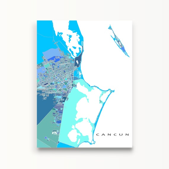 Cancun Map Print And Cancun Mexico Art Poster Including Isla Etsy