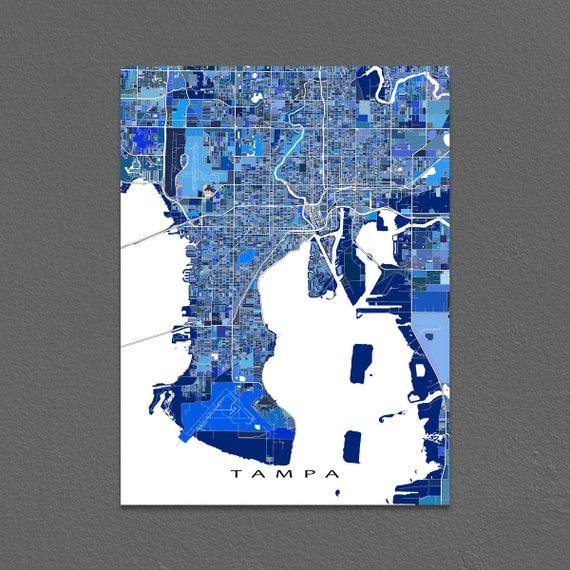 Tampa Florida Usa Map.Tampa Map Art Print Tampa Florida Usa City Map Poster Etsy