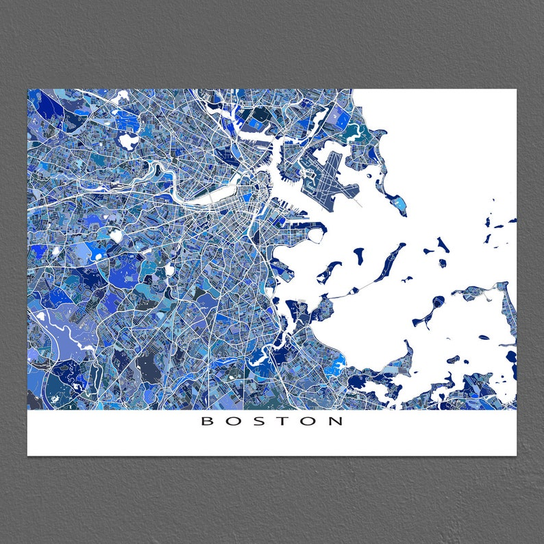 Boston Map Print Boston Ma Massachusetts City Art Maps Etsy