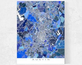 Austin Texas Map of Austin Prints, Austin Wall Art Print, Blue Geometric Austin TX City Maps Home Decor for Walls