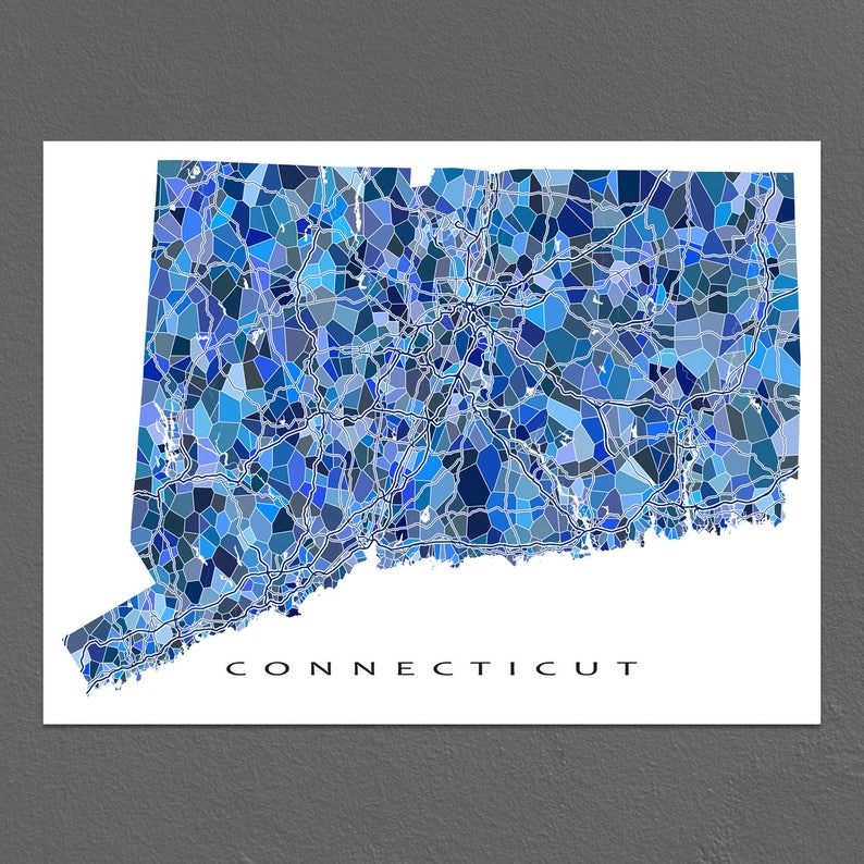 Connecticut Map Art, Connecticut Print, CT State Maps