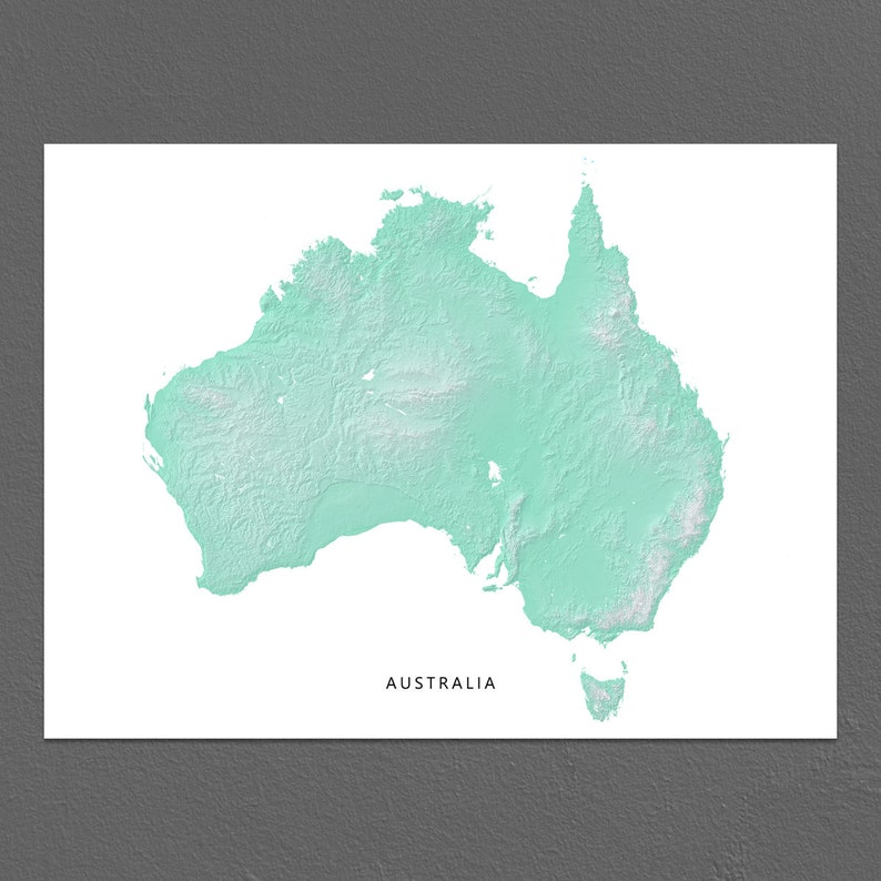 Map Of Australian Landscapes.Australia Map Print Australia Map Decor Aqua Landscape Art Sydney Melbourne