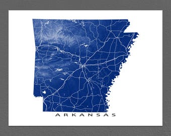 Arkansas Map Print, Arkansas State, USA, AR Map Art