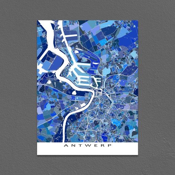Antwerp Map Europe.Antwerp Map Art Antwerp Belgium City Map Print Europe Maps Etsy