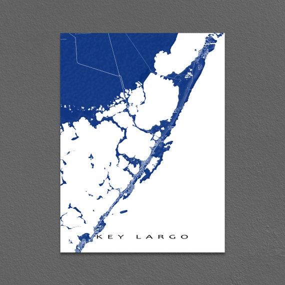 Key Largo Florida Map.Key Largo Map Print Key Largo Florida Keys Art Key Largo Etsy