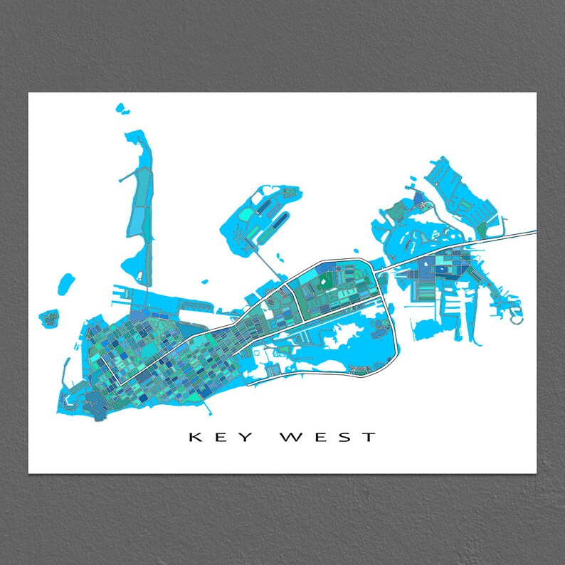 image relating to Printable Map of Key West referred to as Main West Map, Principal West Artwork Print, Florida Keys