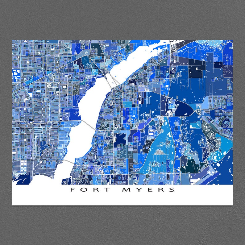 Florida Karte Drucken.Fort Myers Karte Drucken Fort Myers Florida Fl Stadt Kunst Karten