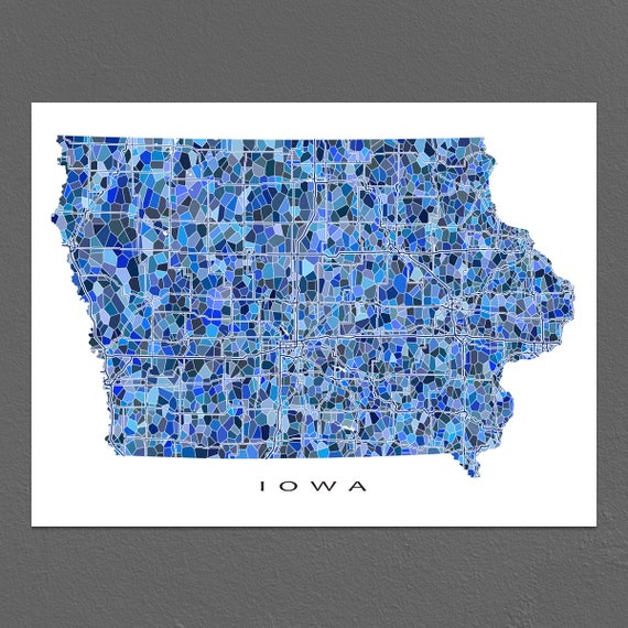 Iowa Map Art Iowa Print Ia State Maps Etsy