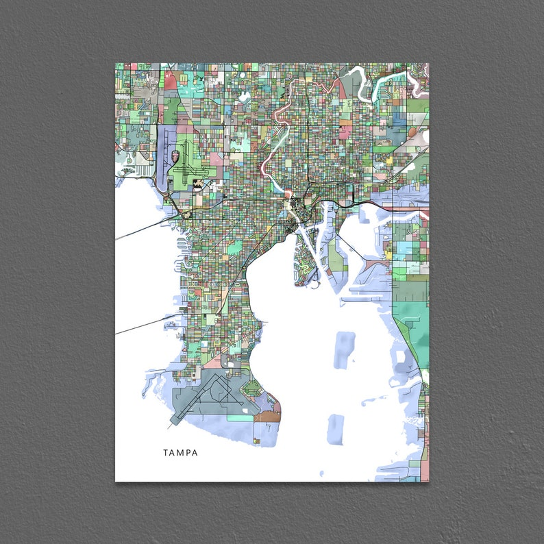 Tampa Map Print Tampa FL City Map Art Florida Colorful | Etsy on