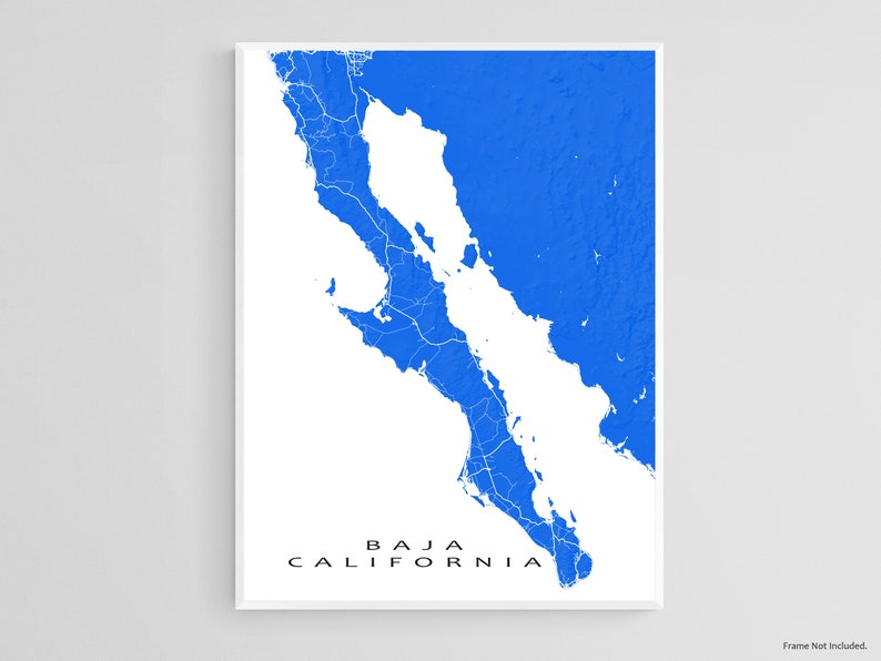Baja California Map Poster and Baja Map Print for Baja Mexico Art Prints and Baja Travel Gifts Cabo San Lucas