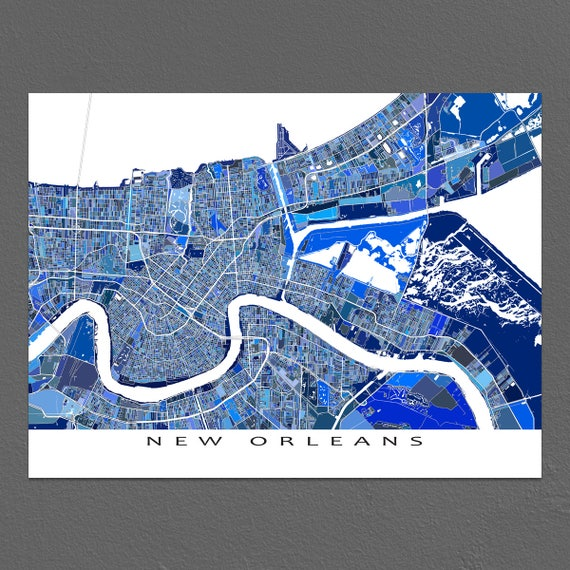 graphic relating to Printable Maps of New Orleans titled Refreshing Orleans Map Print, Map of Contemporary Orleans Louisiana Metropolis Map, Road Artwork Blue