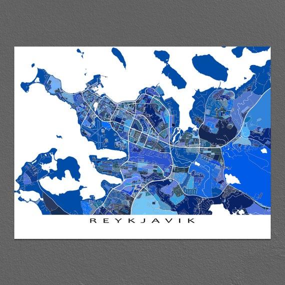 Karte Island Drucken.Reykjavik Karte Drucken Reykjavik Island Poster Europa Stadtplane Island Karte