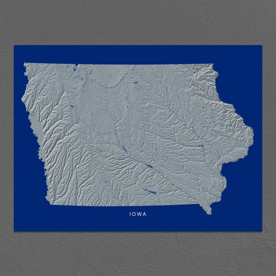 Iowa Map Idaho Wall Art Ia State Art Print Landscape Navy Etsy