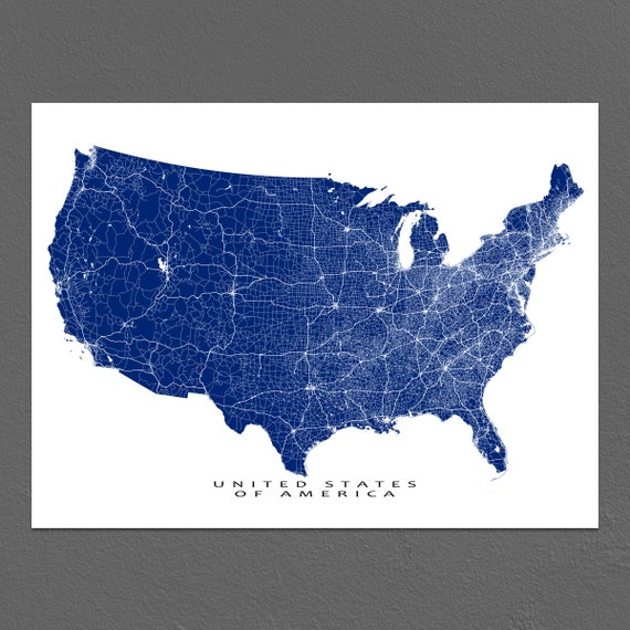 USA Map Art, US Map Print, United States Wall Map, Road Maps