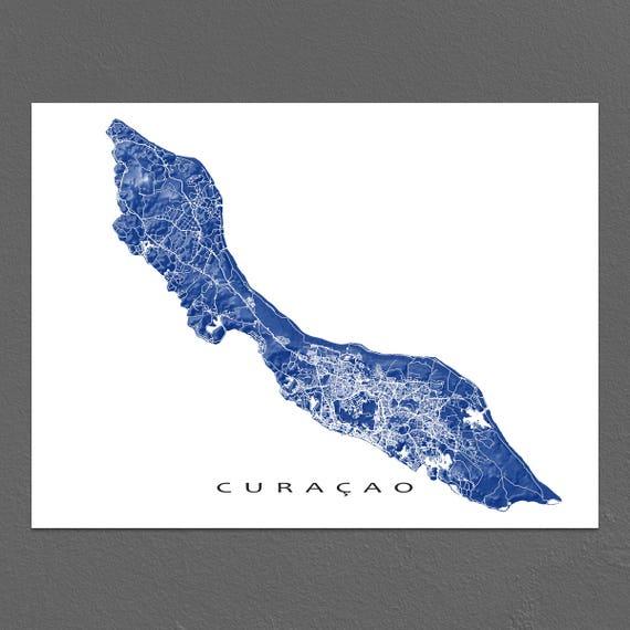 Karte Island Drucken.Curacao Curacao Karte Drucken Wandkunst Caribbean Island Karten