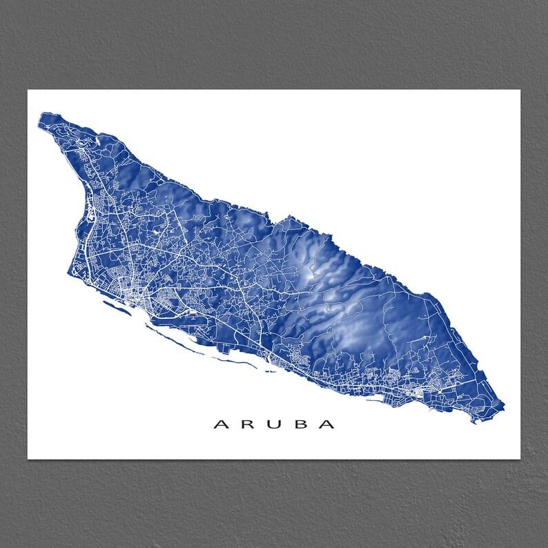 Aruba Karte Karibik.Aruba Karte Drucken Karte Kunst Poster Karibik Insel Karten