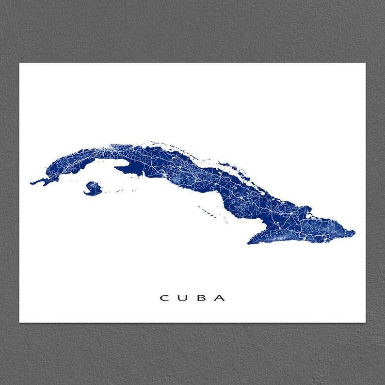 Karte Kuba Varadero.Cuba Map Print Cuban Art Caribbean Island Maps