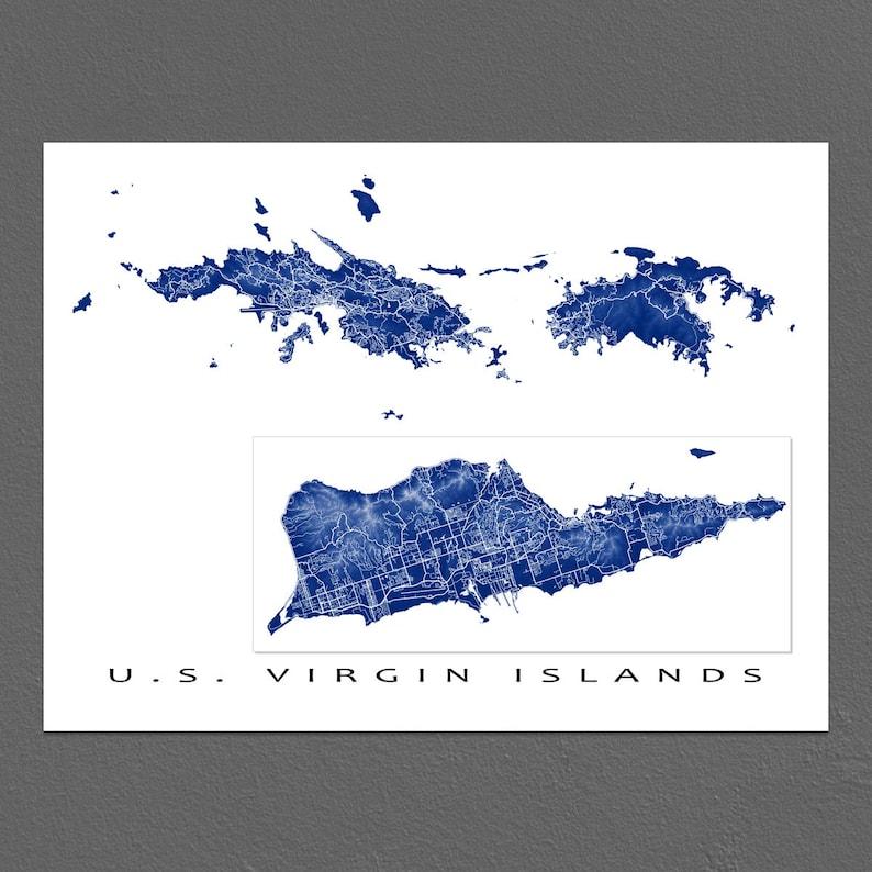 US Virgin Islands Map Print USVI Art St Thomas St Croix St   Etsy