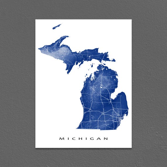 Michigan Map Michigan State Art Print USA Detroit MI | Etsy