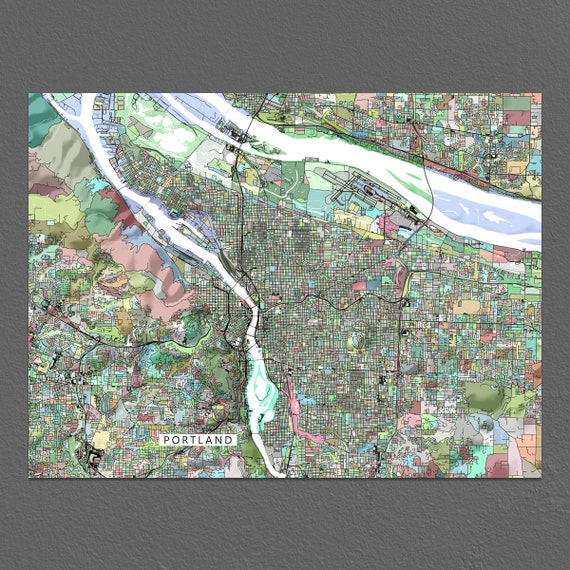 Portland Art Portland OR Oregon USA Map Print Wall Decor | Etsy
