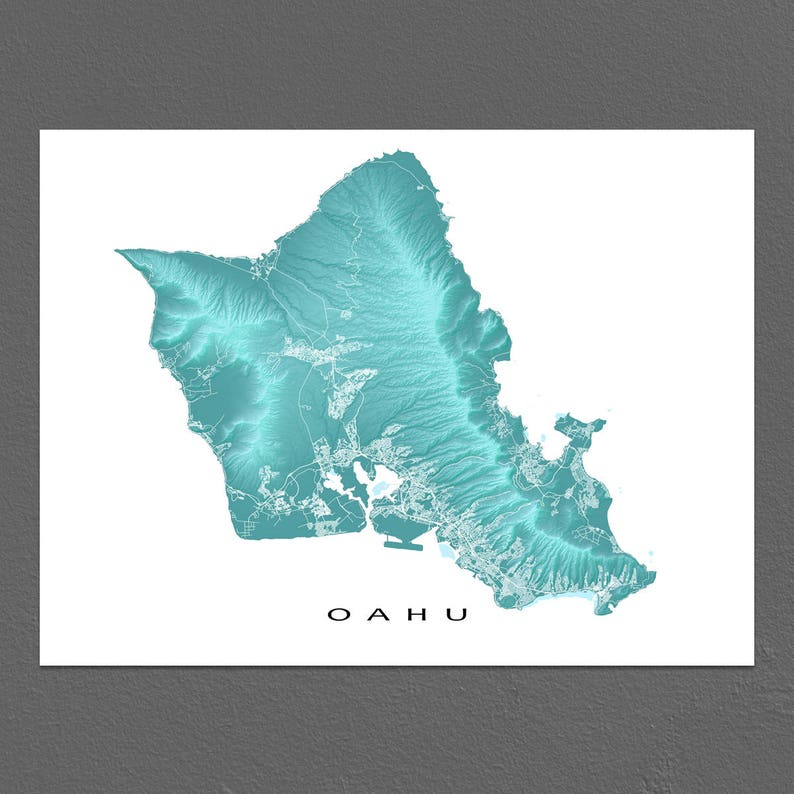 graphic relating to Printable Map of Oahu identified as Oahu Map Print, Oahu Artwork, Oahu Hawaii United states, Honolulu, Waikiki