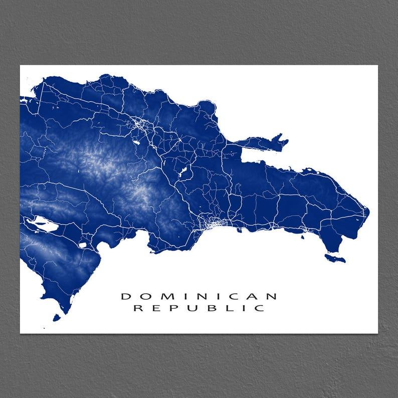 Dominikanische Republik Karte Kunst Druck Hispaniola Karibik Etsy
