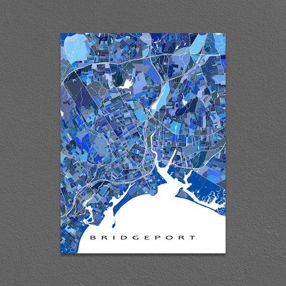 Bridgeport Map Art Bridgeport Connecticut USA CT City Map | Etsy